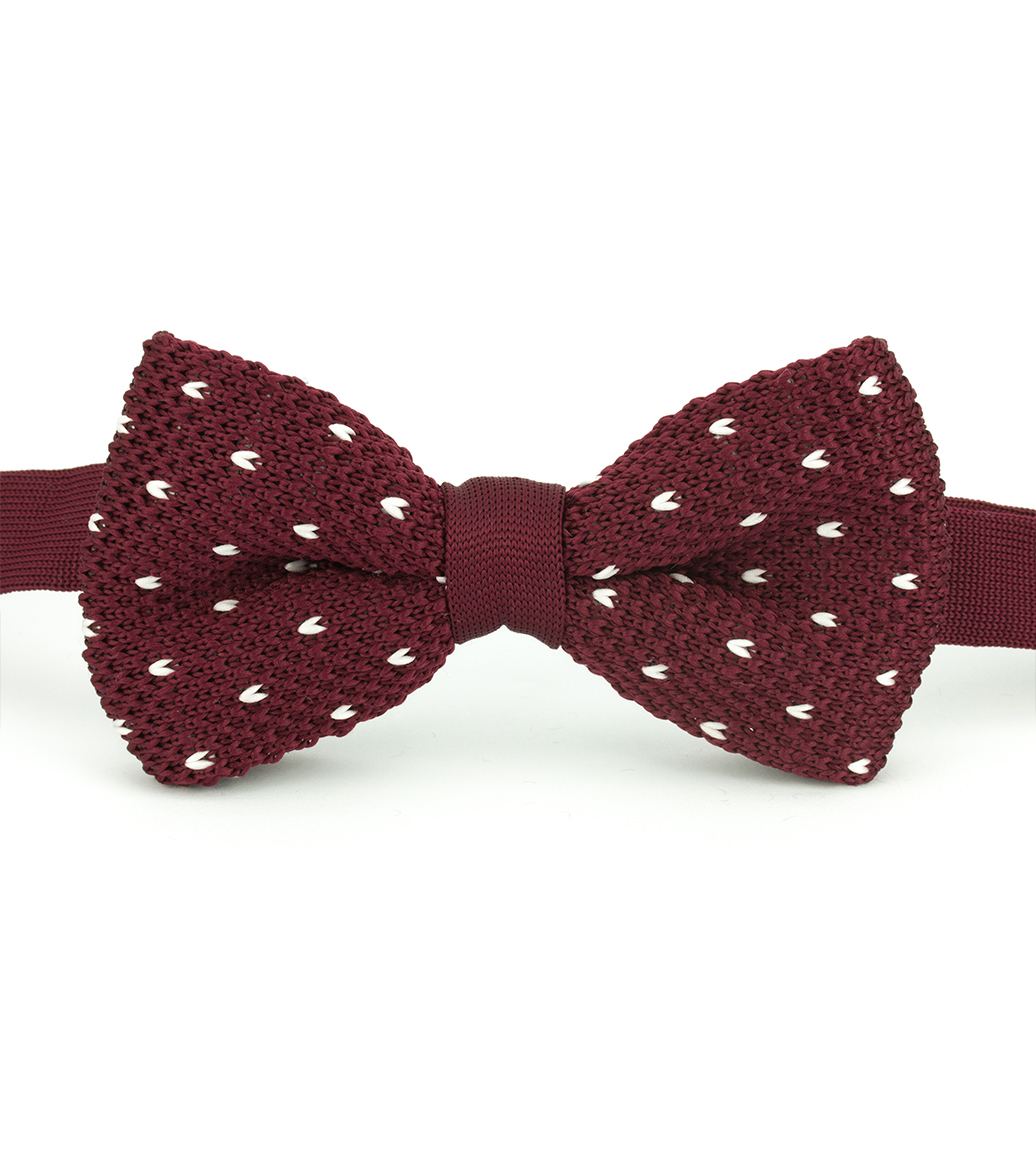 Maroon and White Knitted Bow Tie – Dapper Monkey